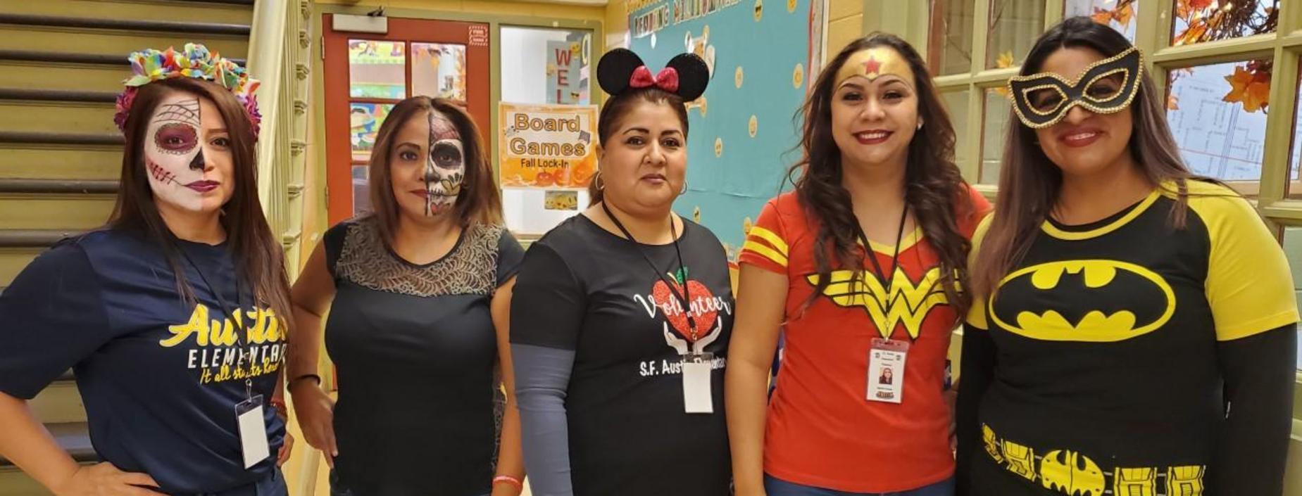 Volunteers dressed as superheroes