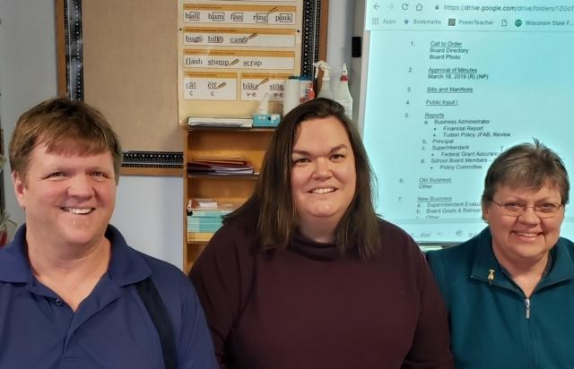 Harrisville School Board - From left to right: Erik Anderson, Melody Moschan, and Claire Gargan