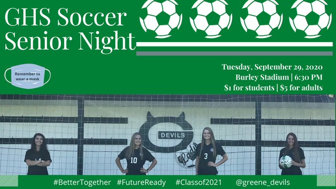 Soccer game night info with pics of students