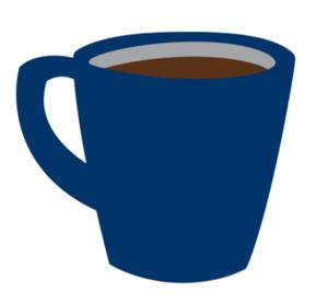 Navy blue coffee mug with brown coffee
