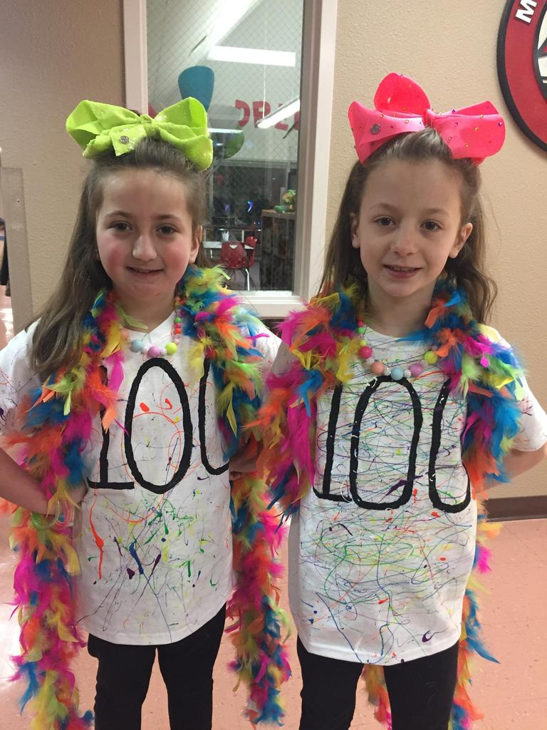 Celebrating the 100th of school wearing neon for 100 days brighter!