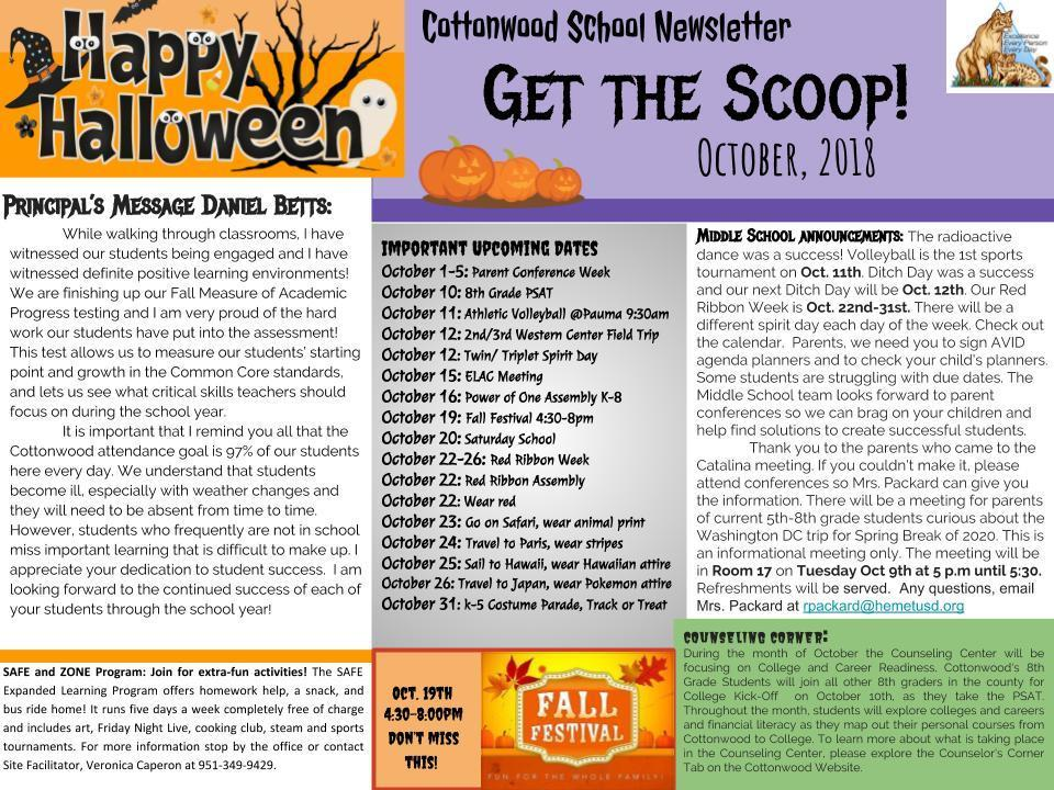 Fall Newsletter highlighting Calendar Events for October.