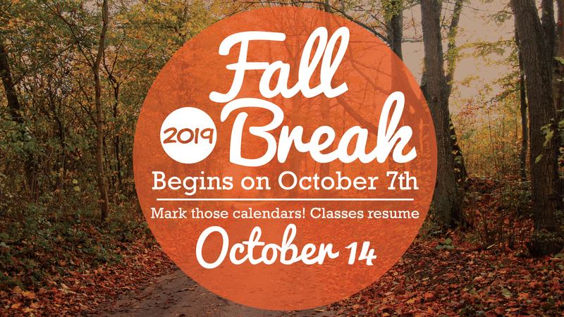 Fall Break announcement, fall leaves
