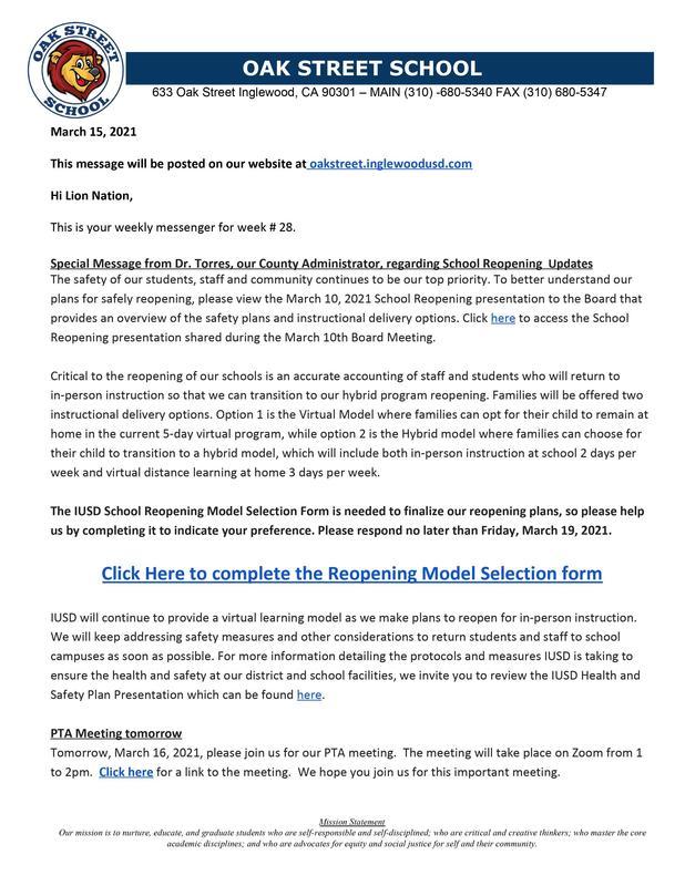 3-15-2021 - Weekly Messenger