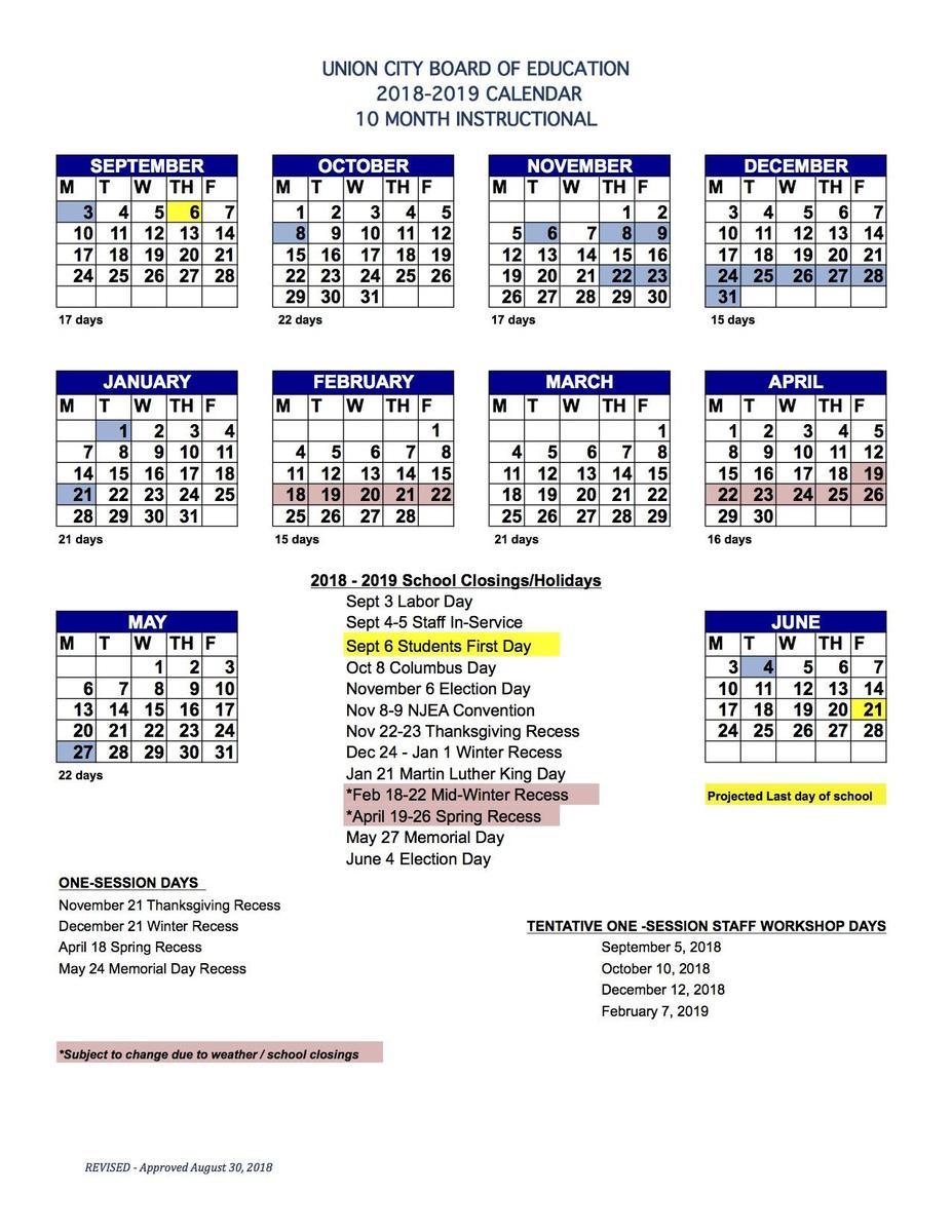 2018-2019 10 month district Calendar