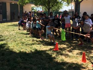Students having fun outside for field day.