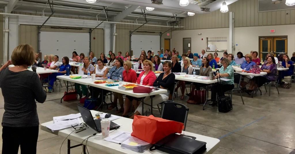 RCS School Nurse Meg Relford, MSN leading training on Autism Spectrum Disorders.