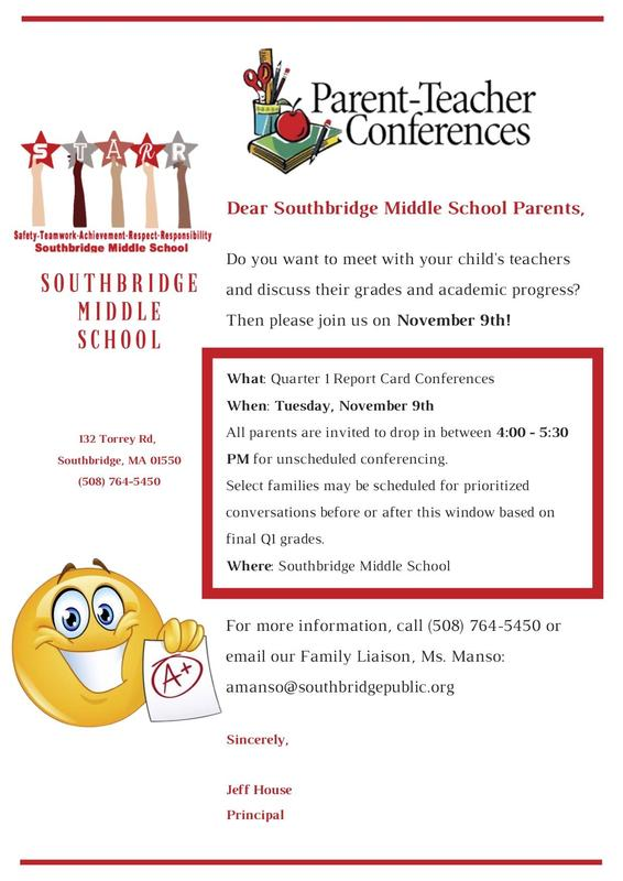Flyer for parent teacher conferences in English. All information is also in the post.