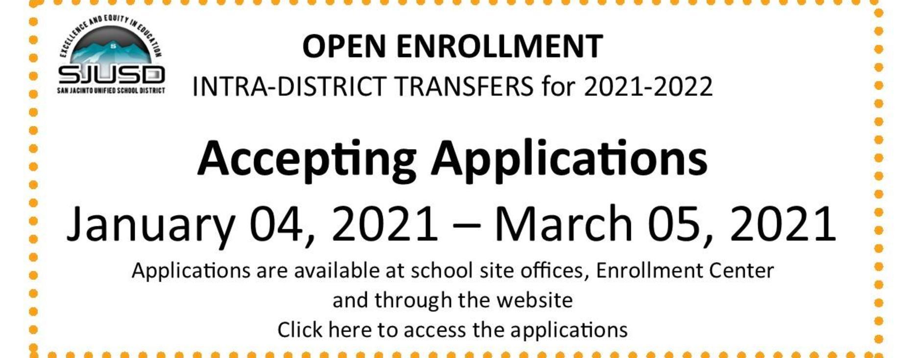 Open enrollment Intradistrict Transfers Jan 4 - March 5, 2021