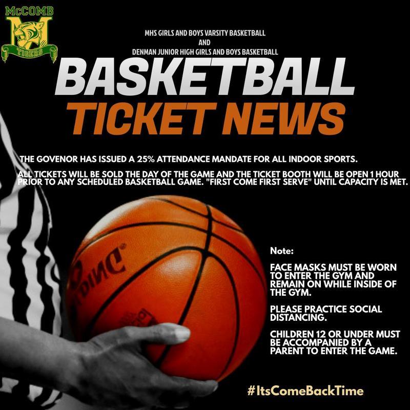 McComb High School Girls and Boys Varsity Basketball/Denman Junior High School Ticket News