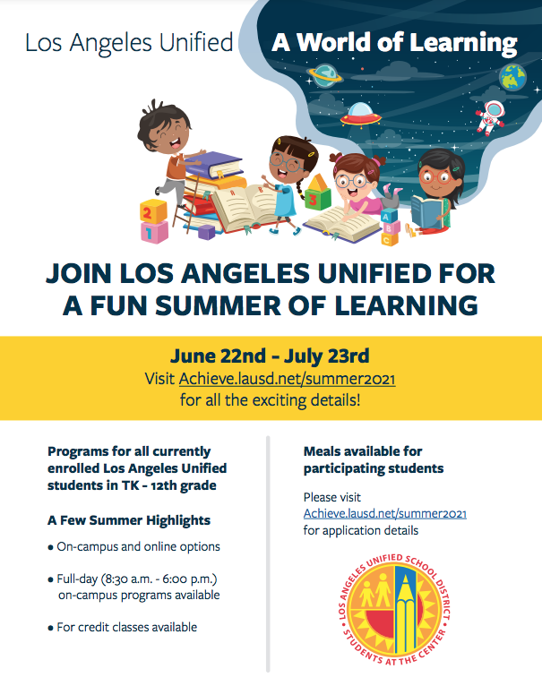 JOIN LOS ANGELES UNIFIED FOR A FUN SUMMER OF LEARNING Featured Photo