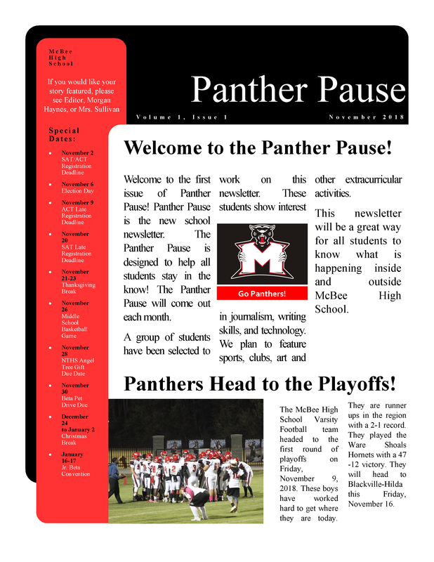 Panther Pause:  November 2018 Featured Photo