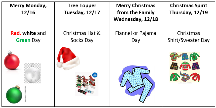 rocky hill december spirit dress up days- English