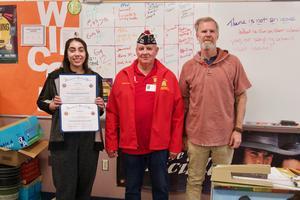 VFW Mr. Hood winner group, Jenese Alarcon, Herald Keesee, teacher Brian Hood.jpg