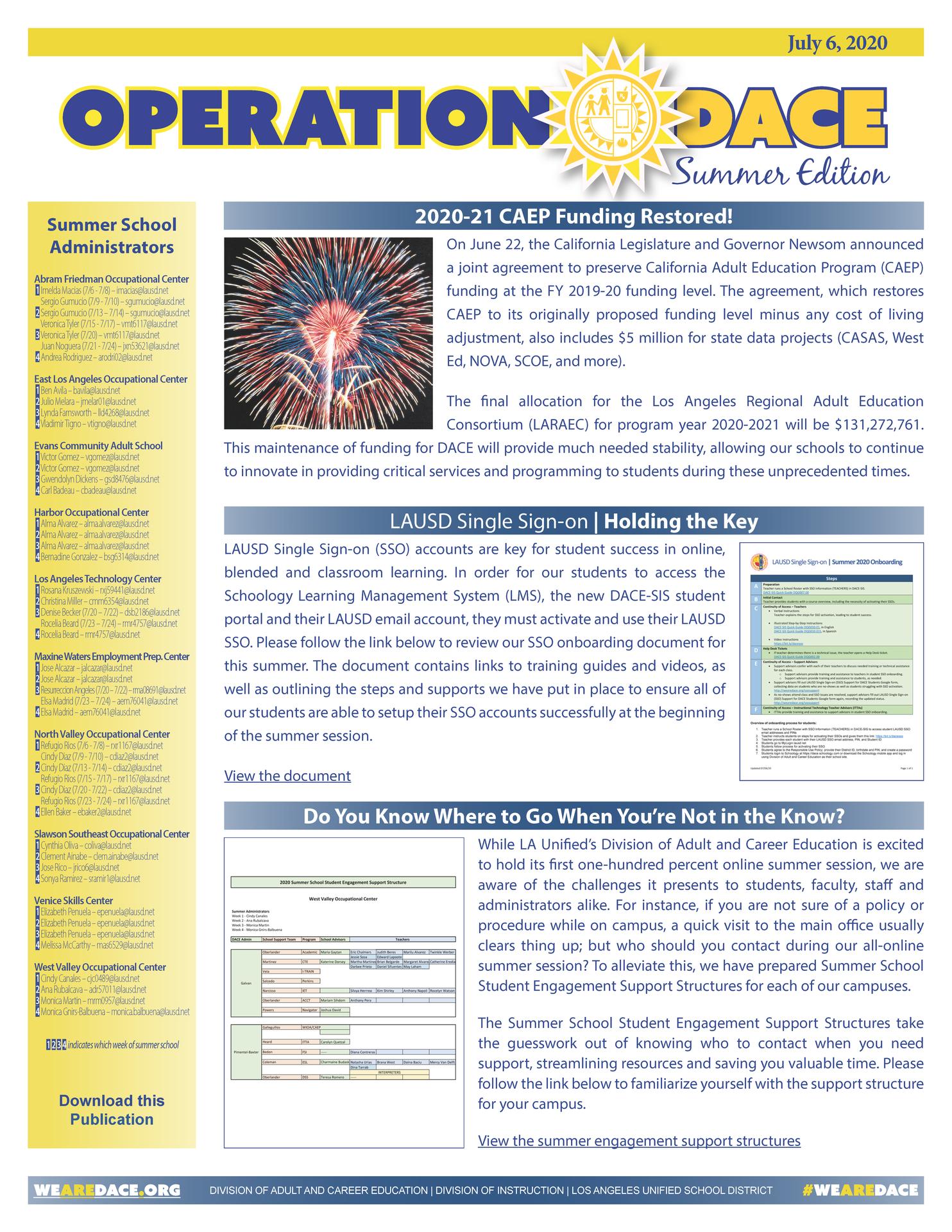DACE Summer Newsletter - July 06, 2020 Thumbnail