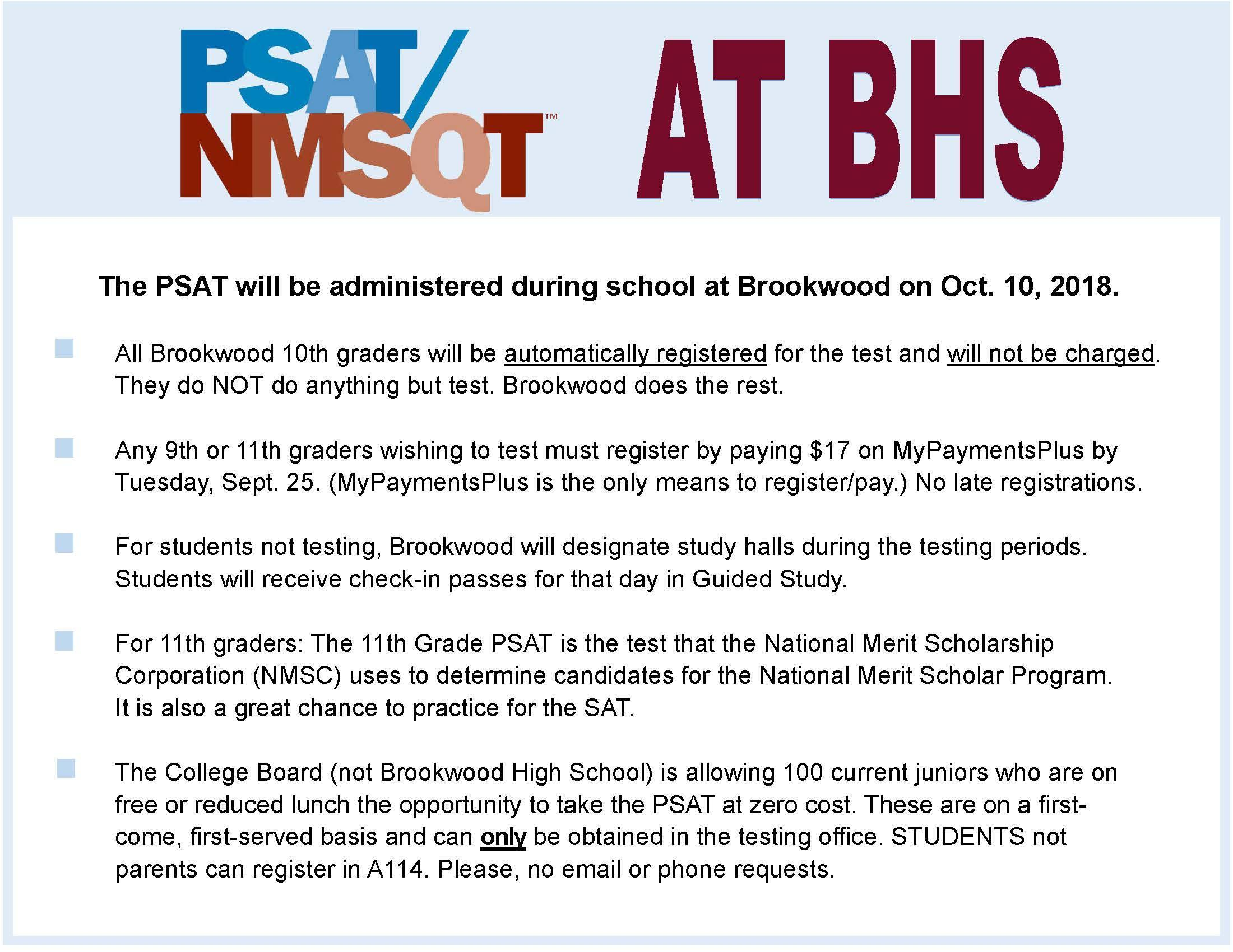 Testing Information - Miscellaneous - Brookwood High School