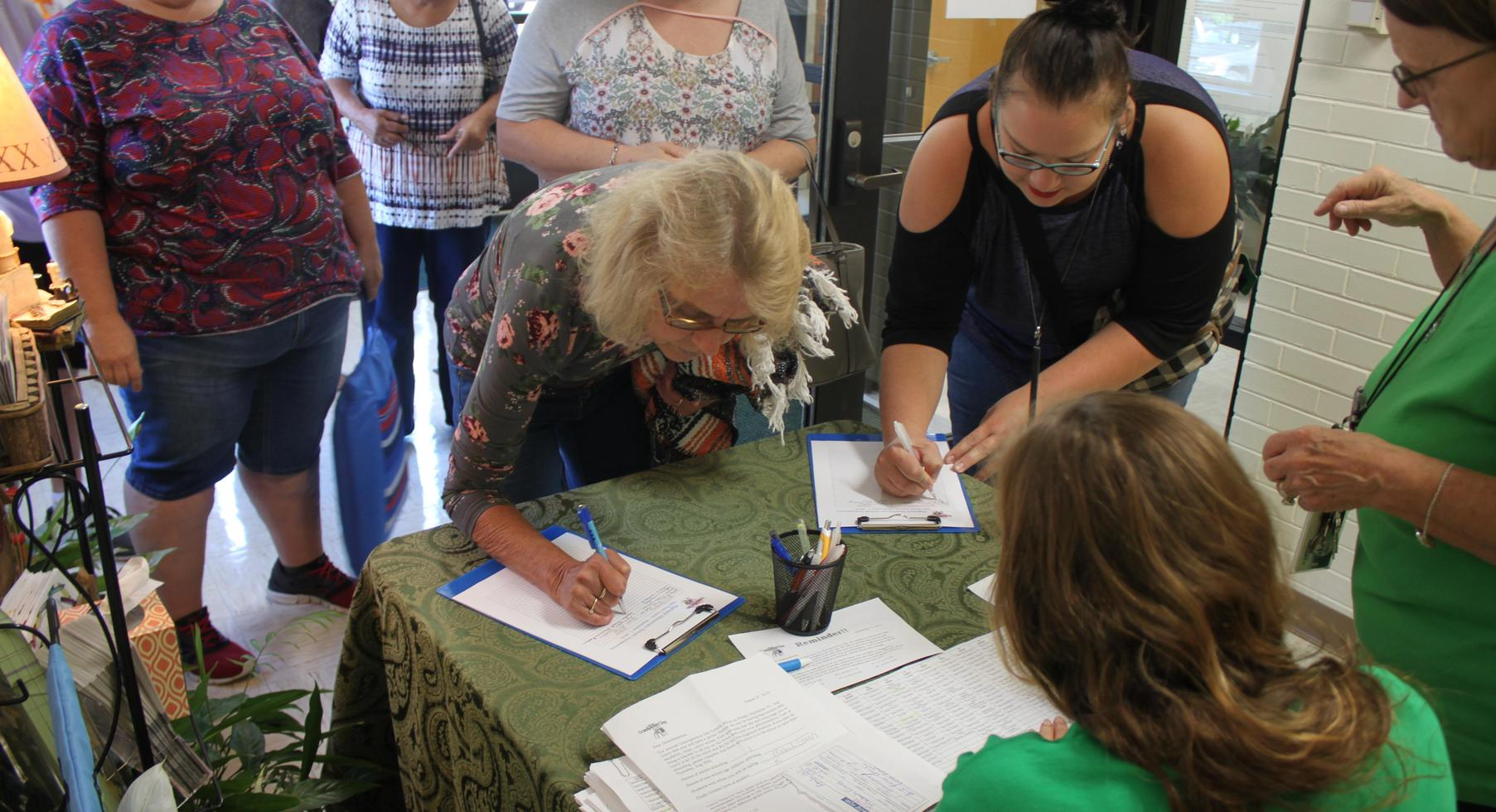 Signing Up for Grandparents Day Lunch