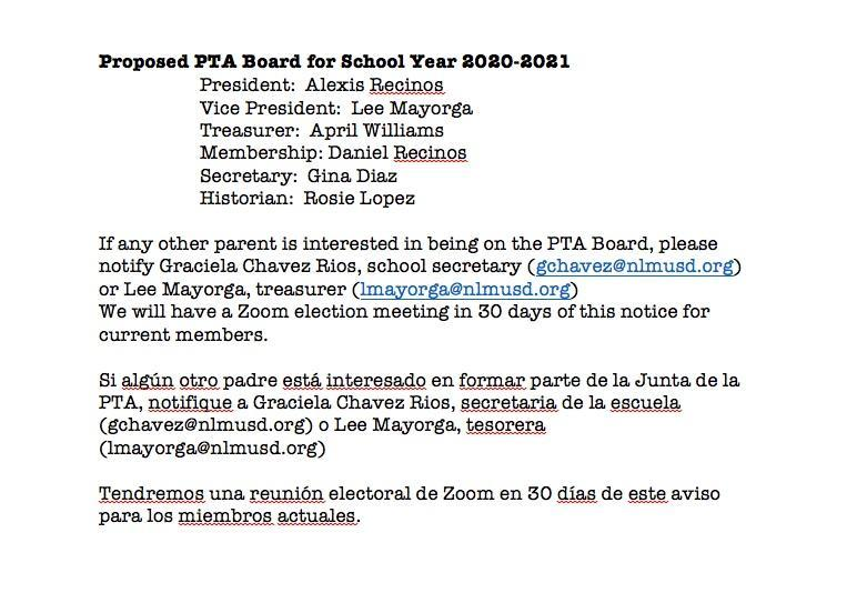 Proposed PTA Board for School Year 2020-2021 / Propuesta del Comité de PTA para el año escolar 2020-2021 Featured Photo