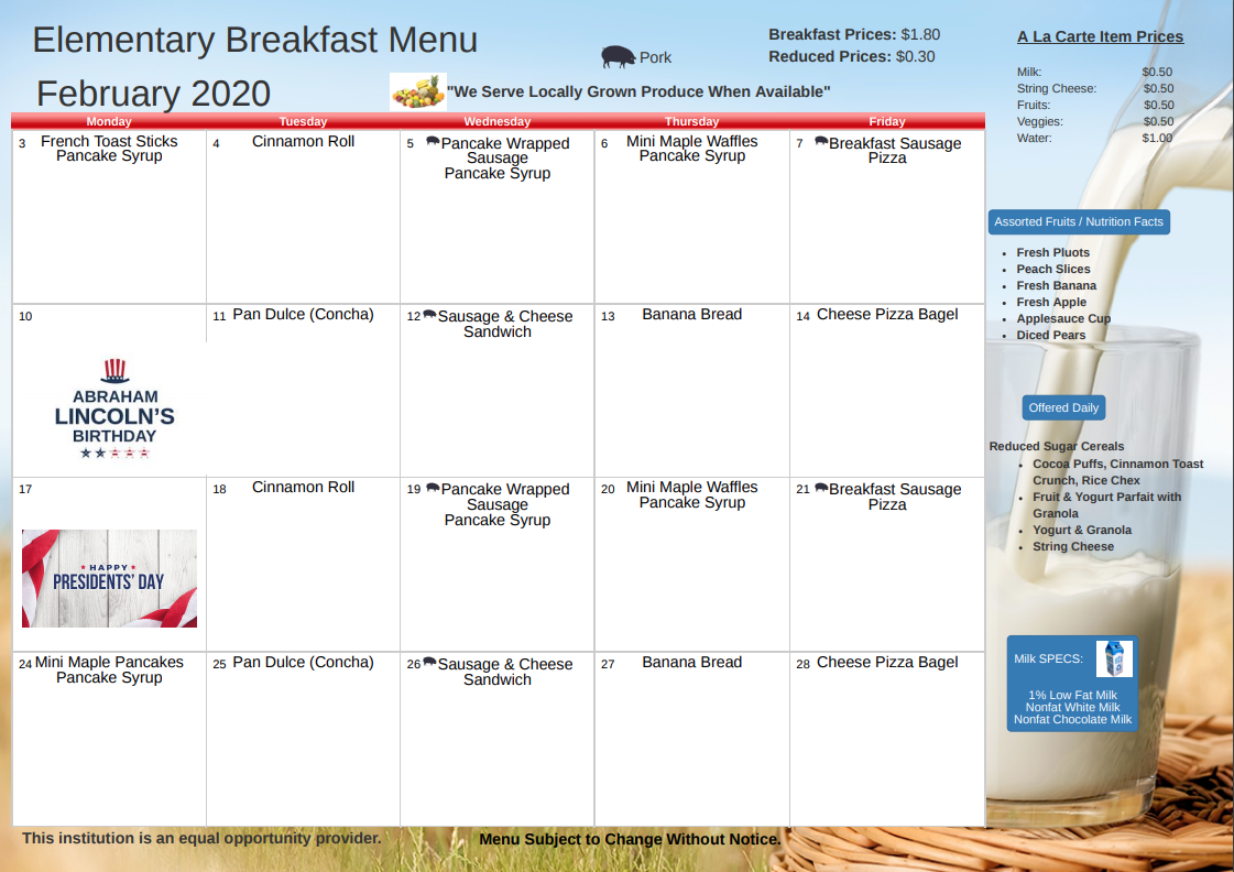 February 2020 Breakfast Menu