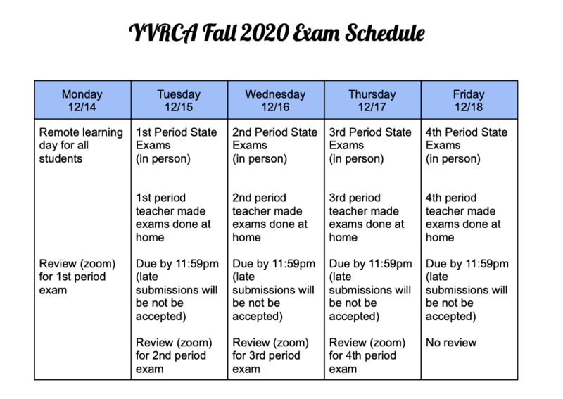 Fall 2020 Exam Schedule Featured Photo