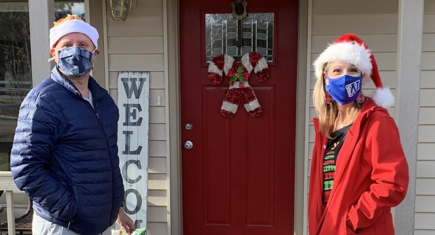 Kinder Teachers make house visits at Christmas time