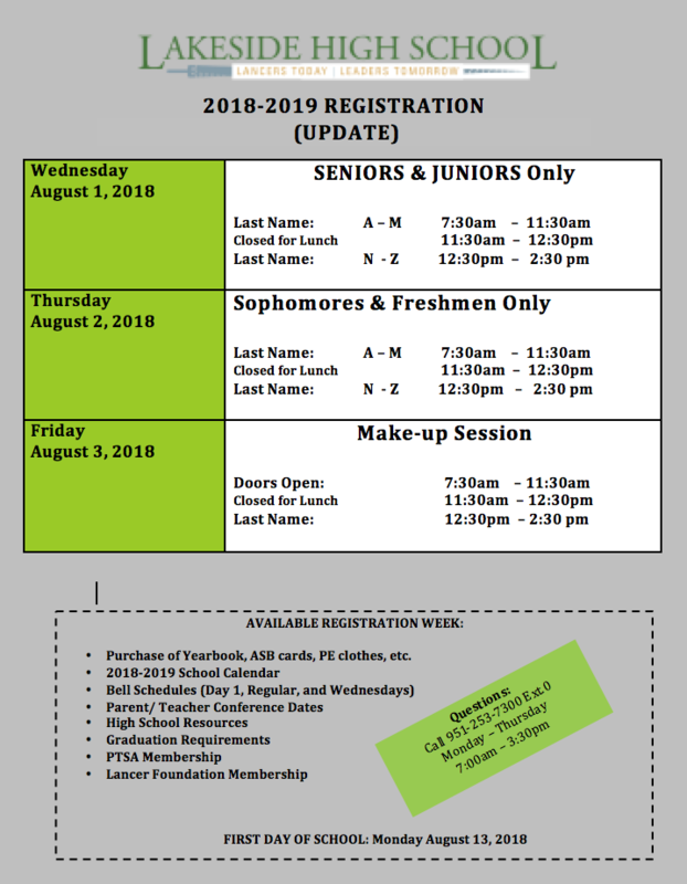 Registration for the 2018-19 school year begins Wednesday August 1 for Juniors and Seniors and continues August 2 for Sophomores and Freshmen.  Call 253-7300 for more information.