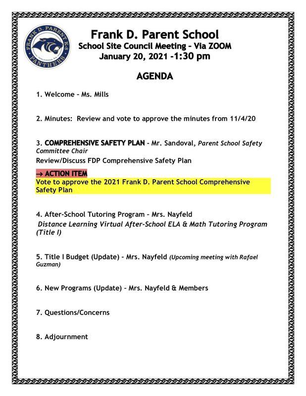 FDP School Site Council Agenda