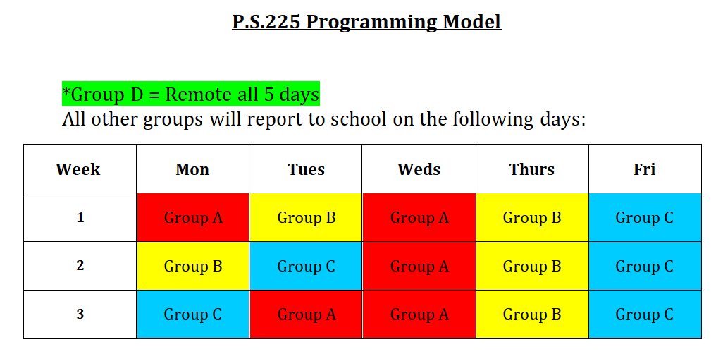 P.S. 225 COVID Schedule for the fall. Email mresnick@ps225k.org for details