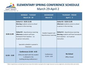 Elementary Spring Conference Schedule - English