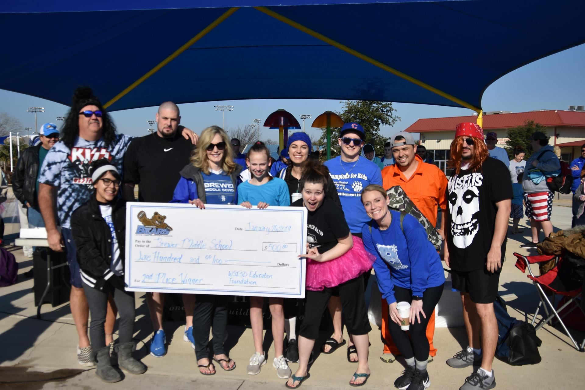Brewer Middle School won $500 during the BRRRewer Bear Plunge.