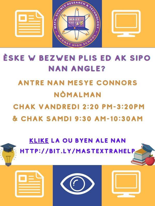 ELL support flyer written in Haitian Creole