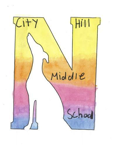 Warm tones City Hill Middle School logo