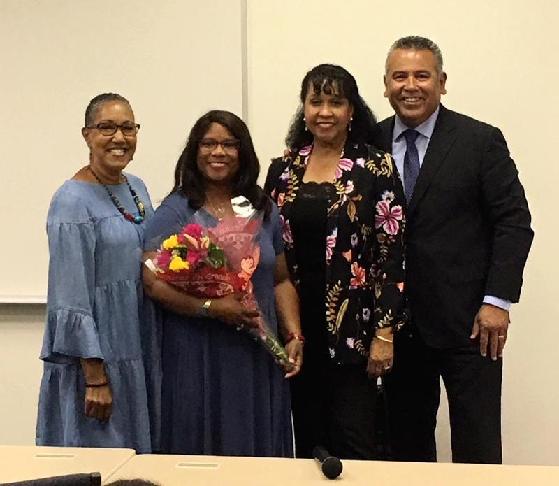 Teacher of the Year Adrienne Clay with Superintendent Richard Martinez