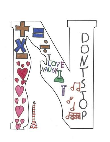 I love Naugy, don't stop logo with hearts, math and music symbols