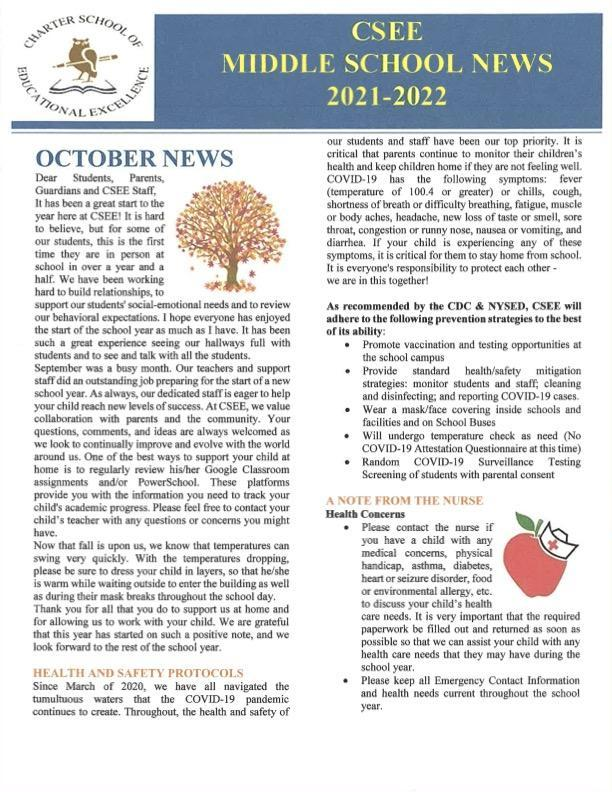 October Newsletter - Middle School Featured Photo
