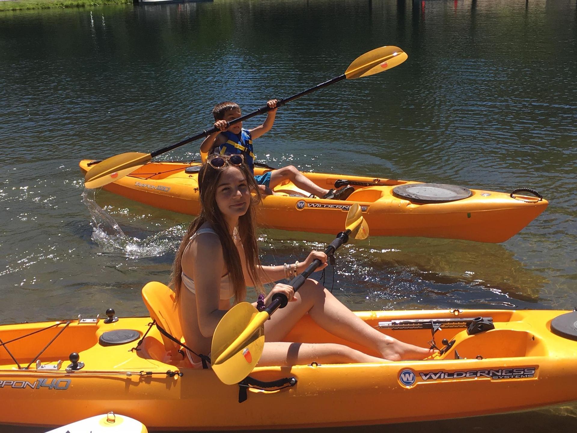 Emma (daughter) and Kaden (son) kayaking