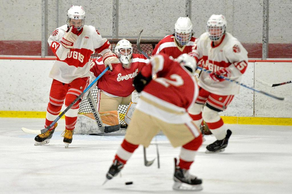 A view of the EHS goalie and the back of a defenseman