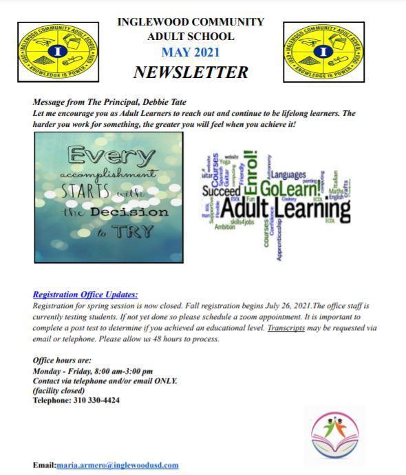 Inglewood Adult School May 2021 Newsletter