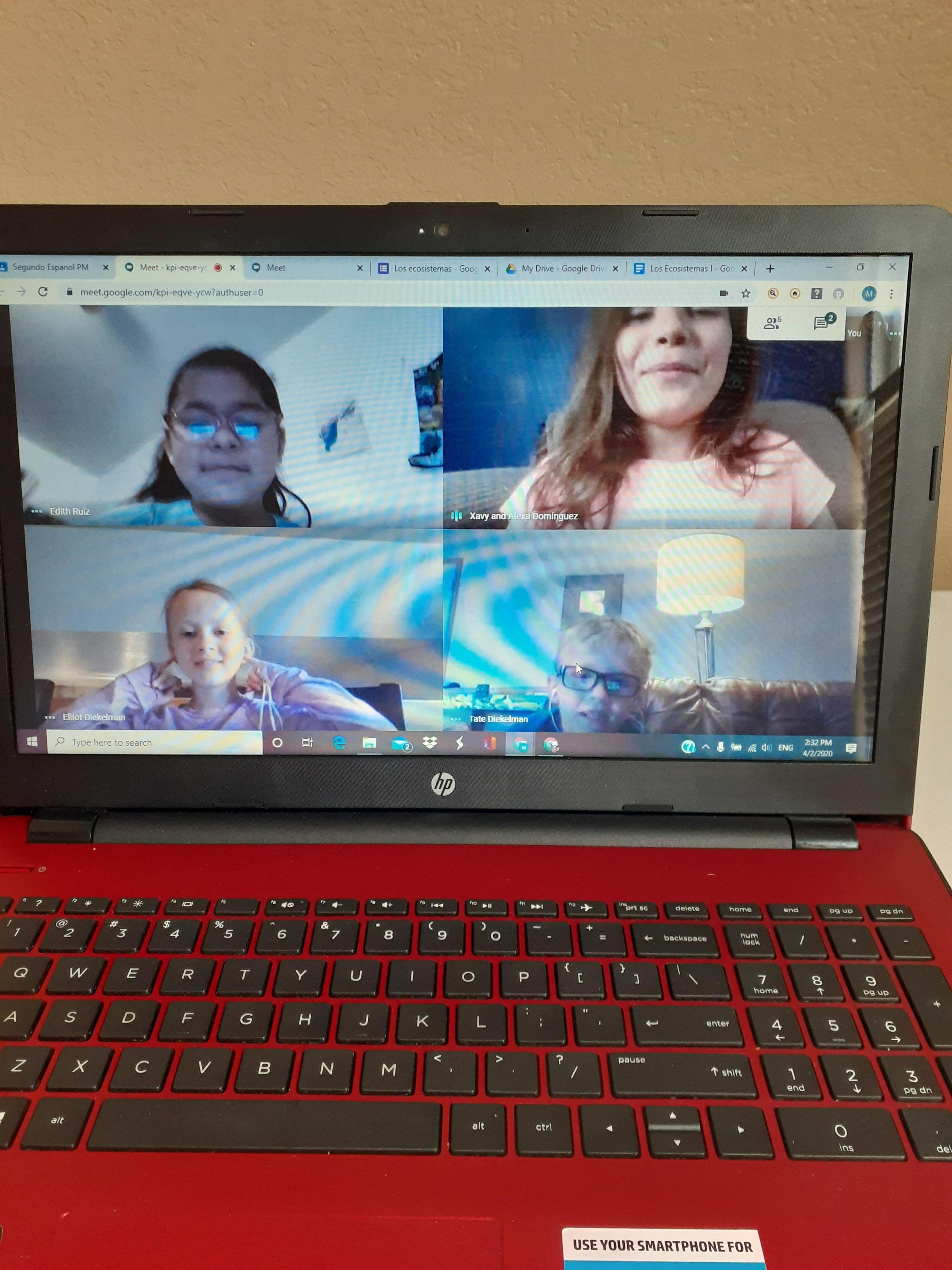 Students learn on webcam