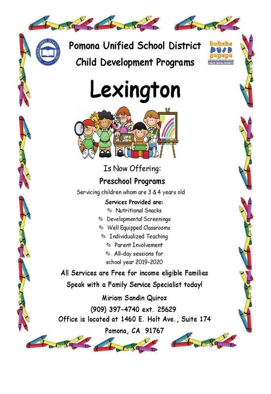Lexington Preschool Program- English Flyer
