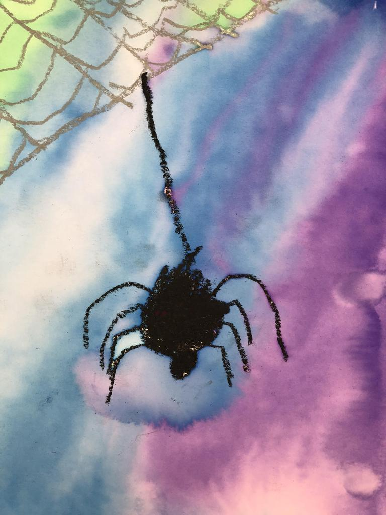 Spider art with watercolors