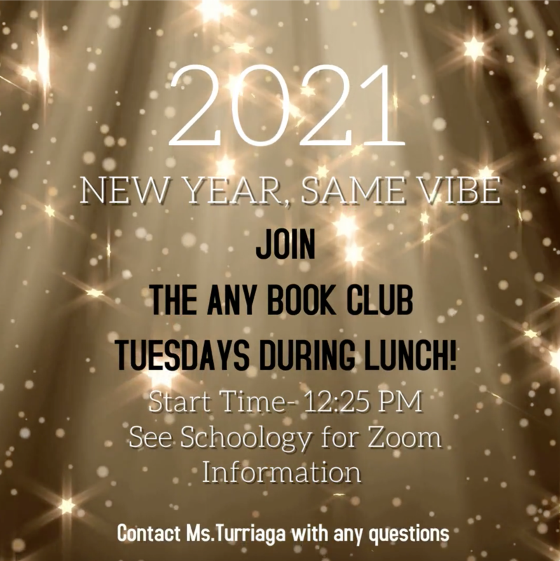 You know the vibe! Join The Any Book Club today during lunch!
