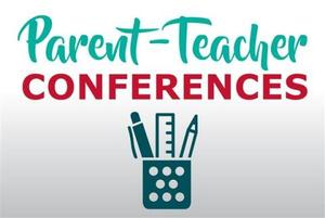 parent teacher conference sign with a pens and pencils in a cup