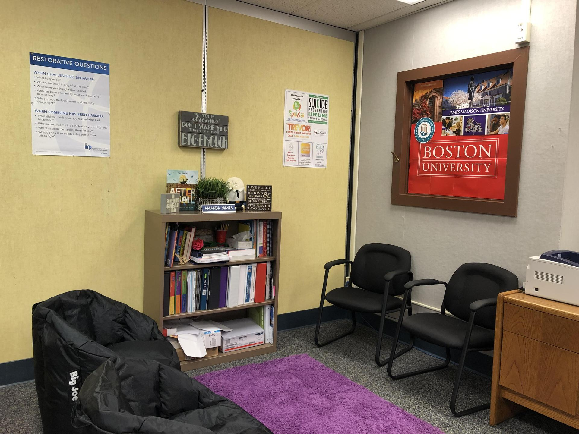 This section of the counseling center is an excellent place to practice effective communication and allow student to participate in Restorative Circles.
