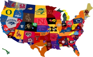 map of us with college names on them