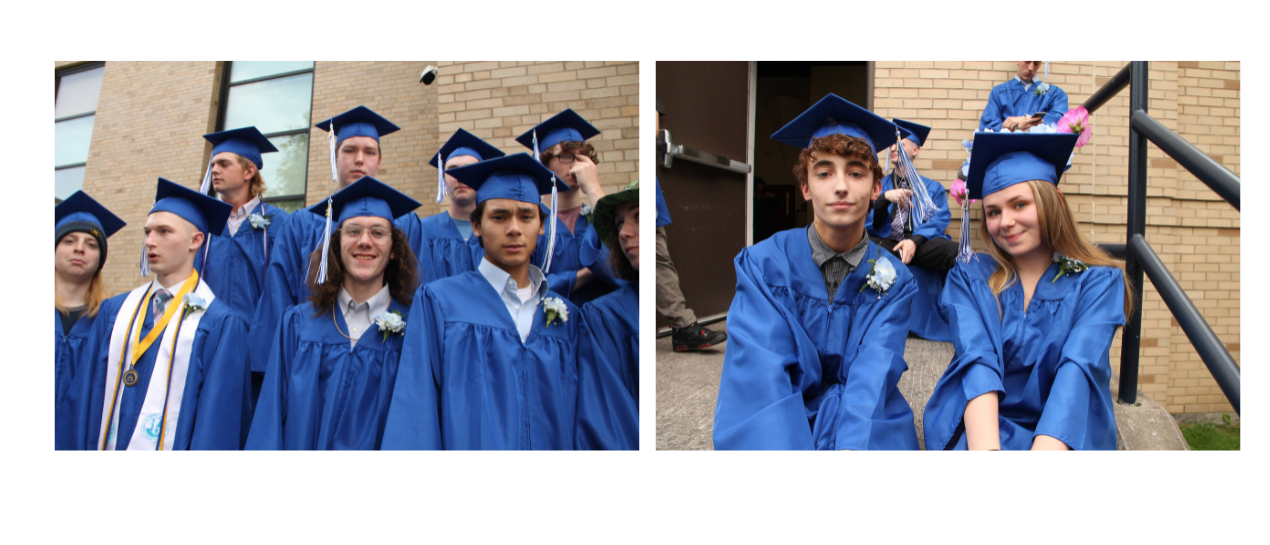 students in cap and gown smiling at the camera