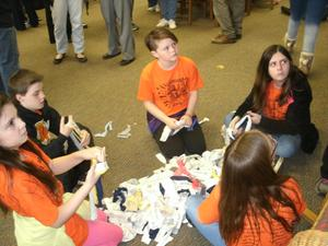 EBOB team members participate in MakerSpace activity and create chew toys for pets.