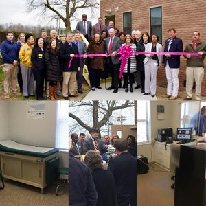 collage of pictures from ribbon cutting at WASH