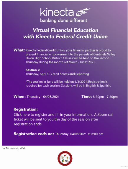 Kinecta's Virtual Session 2 (sesión 2): Credit Scores and Reporting (Informes y puntuaciones de crédito) Thursday (Jueves) 04/08/21