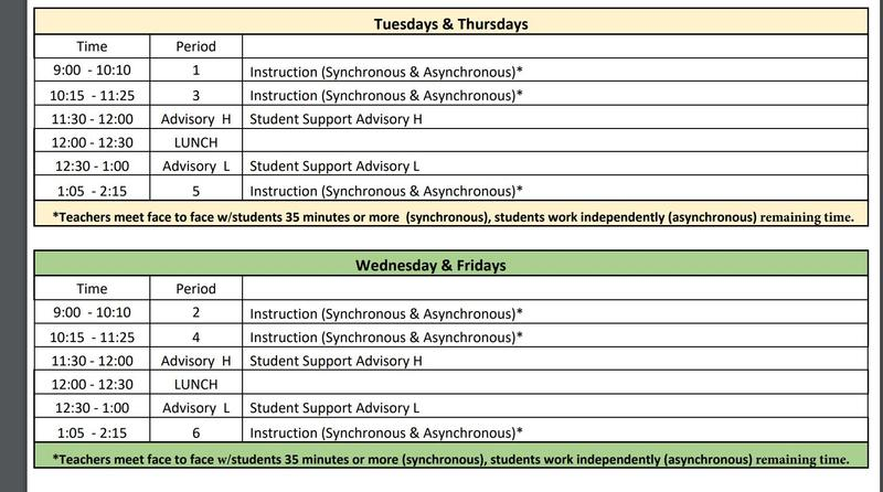 Distance Learning Daily Schedule Featured Photo